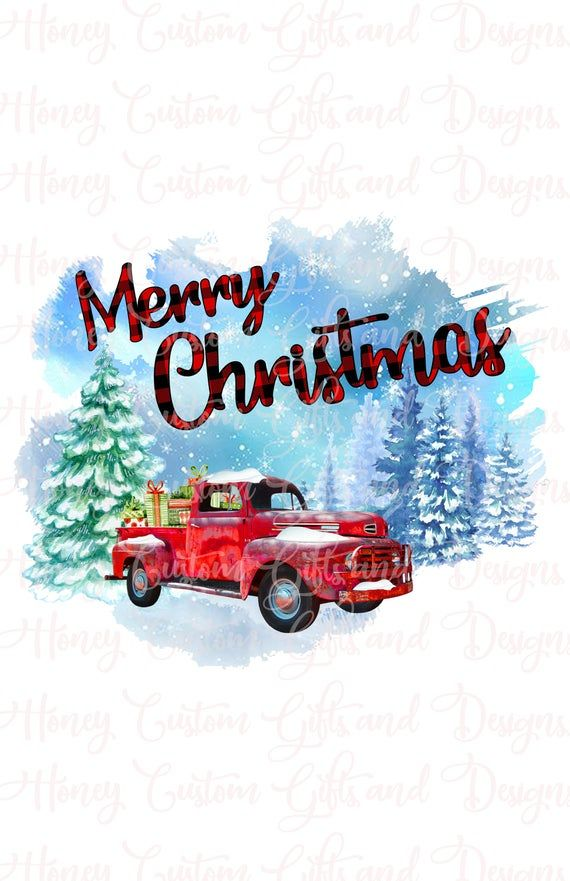 Christmas Red Truck Tree Leopard Digital Png Christmas Red Truck Christmas Truck Christmas Watercolor