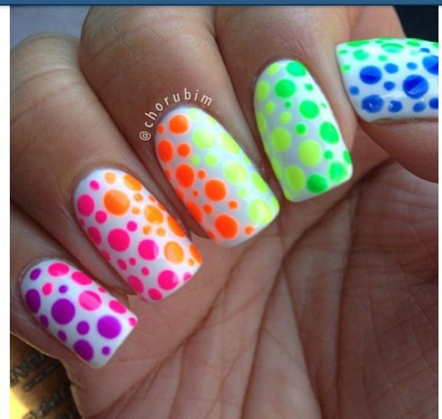 Awesome more rainbow polka dot nails!