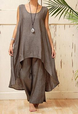 CHALET USA Hanky Linen EVA LONG LAYERING TUNIC Drip-Back Hem Vest XL VINTAGE.  Doesn't this look like just the thing to wear to the office during the dog days of summer?
