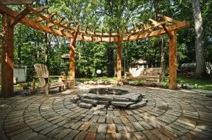 Image result for Pergola with Fire Ring