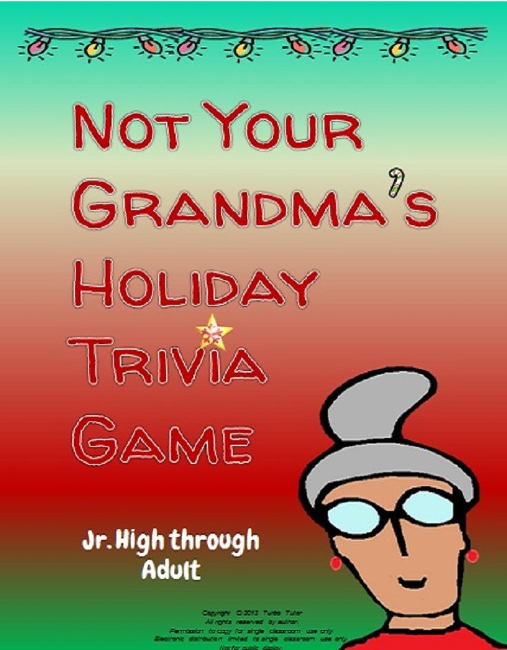 Christmas trivia questions from around the world. Great for school, staff, fill-in time, or family fun. Interesting and cheap! $1.25 http://www.teacherspayteachers.com/Product/Not-Your-Grandmas-December-Holiday-Trivia-Game-421921