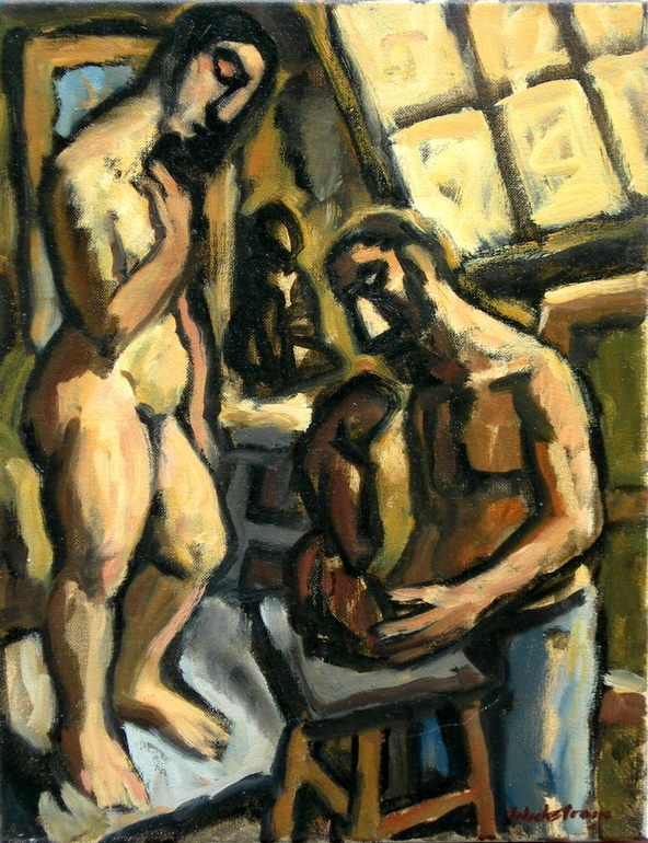 "Thor Wickstrom - ""Artist and Model"" oil on canvas, 18 x 14 in"