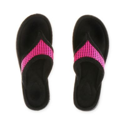 Put your feet at ease with Therapedic's Women's Thong Slipper. The soft and supportive slip-on has a super-comfortable memory foam foot bed, and is designed to provide the ultimate in arch support. The non-skid grip sole is ideal for indoors and outdoors.