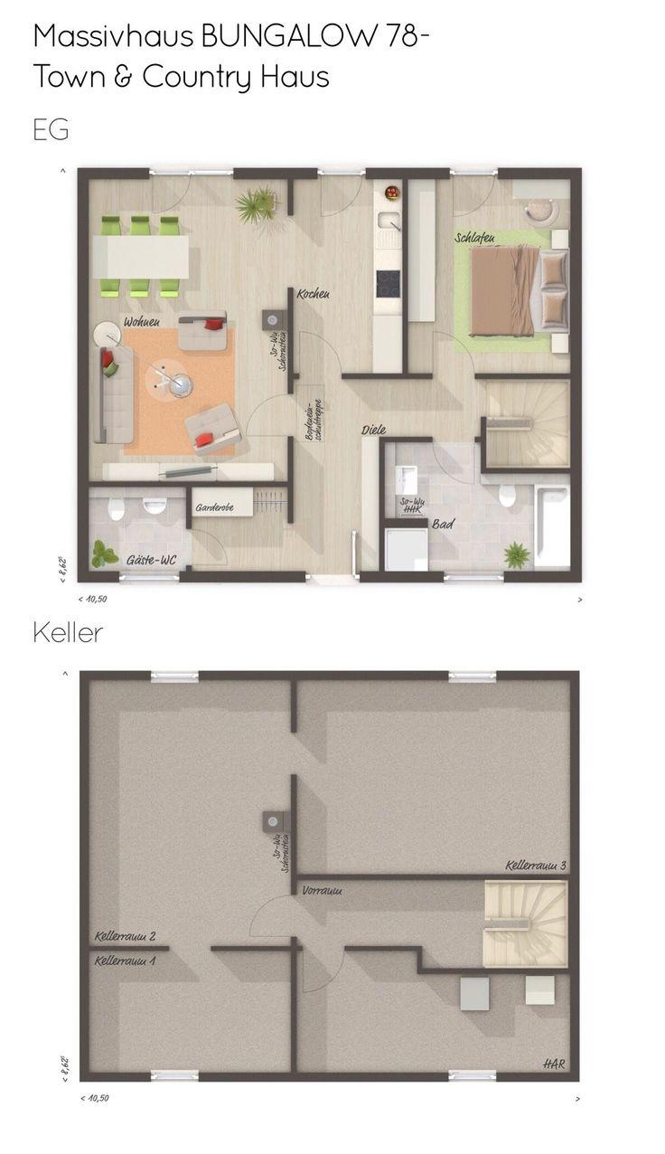 Bungalow Haus Grundriss mit Keller & Walmdach Architektur