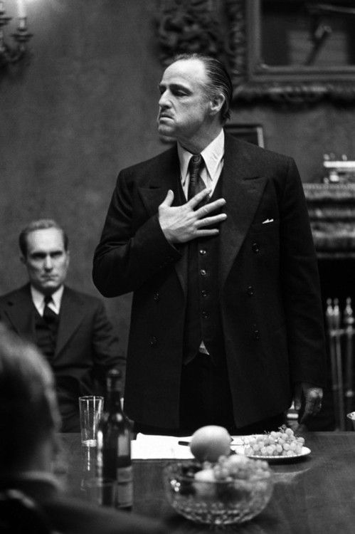 "Don Vito Corleone (Marlon Brando) The Godfather - head of the 'family business' which is an Italian mob organization he forged migrating to the United States. He raises his children under strict guidlines and mafia rules. One of my father's inspirations for quotes and guidelines: ""Never tell anyone outside the Family what you are thinking."""
