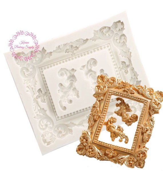 New Arrival Vintage Photo Frame Silicone Mold Filigree Baroque Silicone Mold Cake Decoration Mould Cake D Vintage Photo Frames Picture Molding Photo Frame