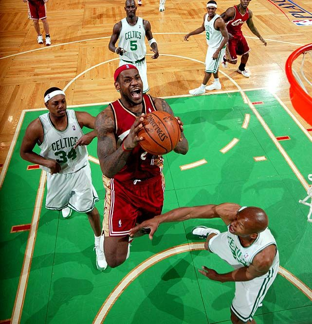 May 18, 2008, at Boston  Game 7, East semifinals  James scored 45 points and Paul Pierce countered with 41 in a memorable Game 7 duel. Pierce's Celtics edged James' Cavaliers 97-82.