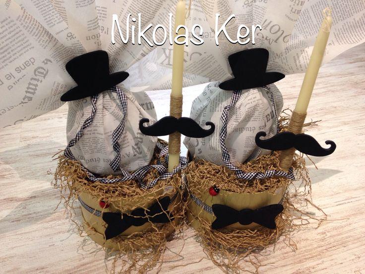 """Πασχαλινές καπελιέρες """"Little Man"""". Περιέχουν σοκολατένιο αυγό & λαμπάδα. Handmade by Nikolas Ker. www.nikolas-ker.gr"""