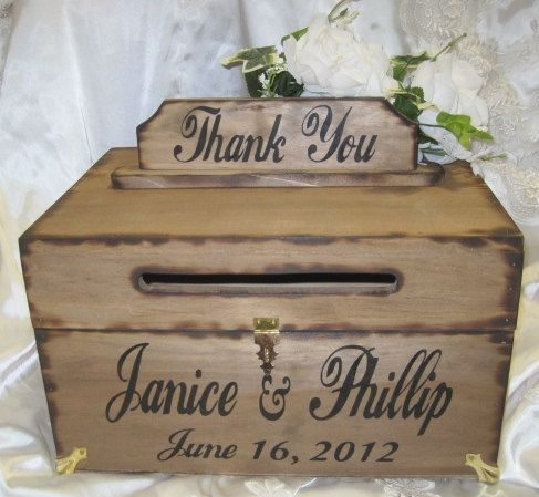 Large Rustic Wedding Card Box Keepsake Chest by dlightfuldesigns