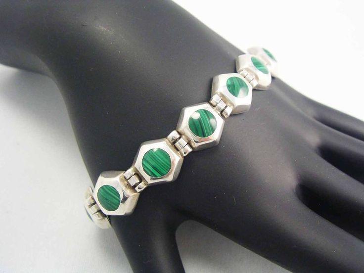 SIGNED Sterling Bracelet Genuine MALACHITE Gemstone INLAY Vintage ~BOHO CHIC~