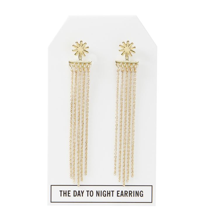Twilight Day to Night Earring in Gold - available in gold, silver, and gunmetal. $28. #goldearrings #goldjewelry #convertiblejewelry #fancyearrings #daytonight #daytonightearrings #jewelrygift