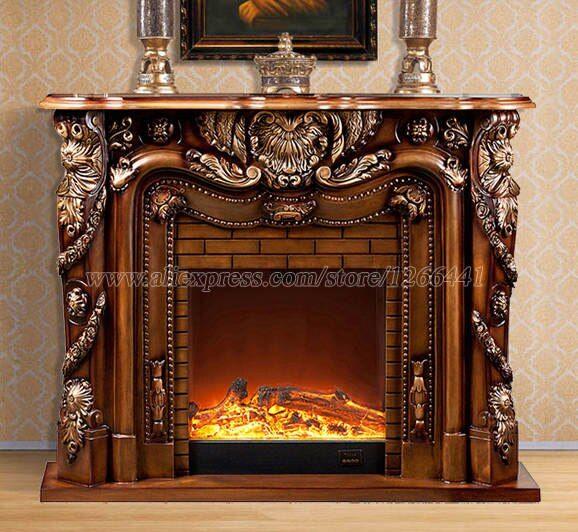 Online Shop Deluxe Fireplace W150cm European Style Wooden Mantel Plus Electric Fireplace Insert Fir Chimeneas De