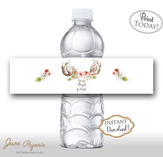 95 best Food and Water Bottle Printable Labels by Jane Paperie - water bottle label template