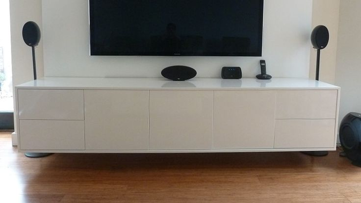 Wall mounted contemporary white gloss TV unit. This floating TV unit was handmade in Britain by AV Soul. Each piece of AV furniture is custom made to order. The perfect fit for every customer.