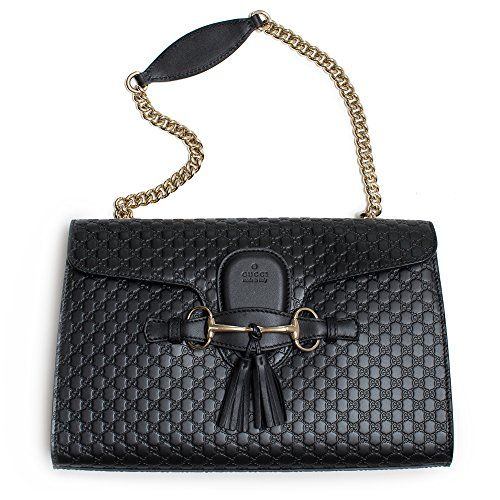 a4f21cfd4dd Gucci Women s Micro GG Guccissima Leather Emily Purse Handbag (Black)  https