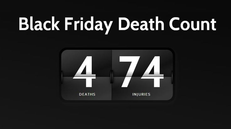 This death count website serves as a grim reminder of the lengths people go to for a black Friday deal. The original site is http://blackfridaydeathcount.com/ and is up to date with 7 deaths and 89 injuries.
