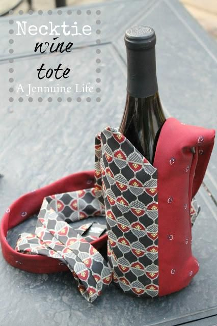 DIY wine gift bags: Necktie Wine Tote {Tutorial} Tutorial is gone, but good inspiration Pic.