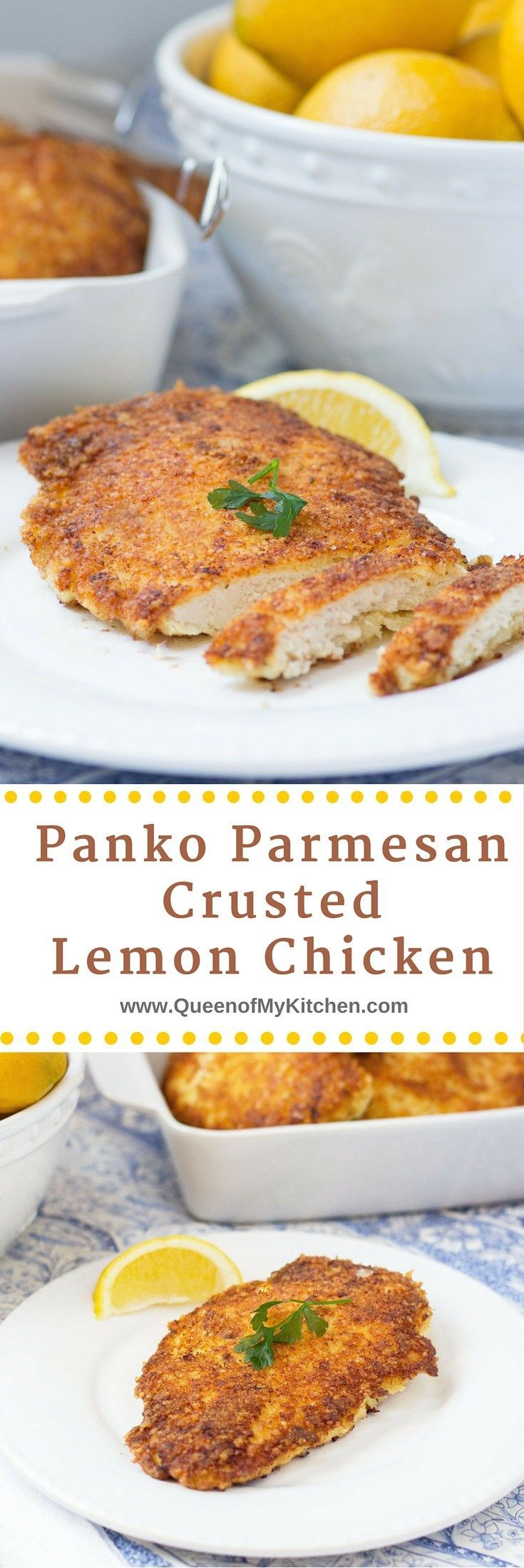 Hands down - the best lemon chicken ever!! Panko Parmesan Crusted Lemon Chicken is crispy, lemony, juicy and delicious. Use it to make chicken parmesan and chicken ceasar salad too.   QueenofMyKitchen.com