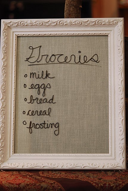 DIY: Grocery List/Notes Board: use burlap in any frame and a dry erase marker on the glass.  It looks like it's been embroidered!!   & Sooo country cute, huh!!!: Idea, Dry Erase Markers, White Boards, Erase Boards, Burlap Frames, Old Frames, Tables Runners, Memo Boards, Pictures Frames