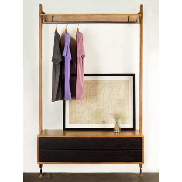 Blandon Wall Clothing Rack - Hard Fumed|black | Memoky.com