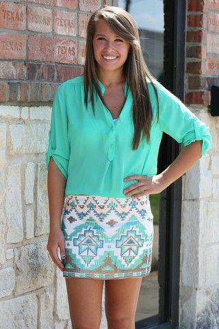 Sequin Aztec Skirt - Mint