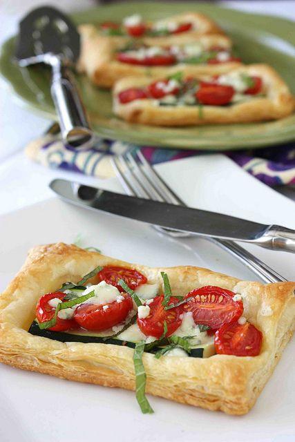 Zucchini, Tomato & Gorgonzola Puff Pastry Tart Recipe by CookinCanuck, via Flickr