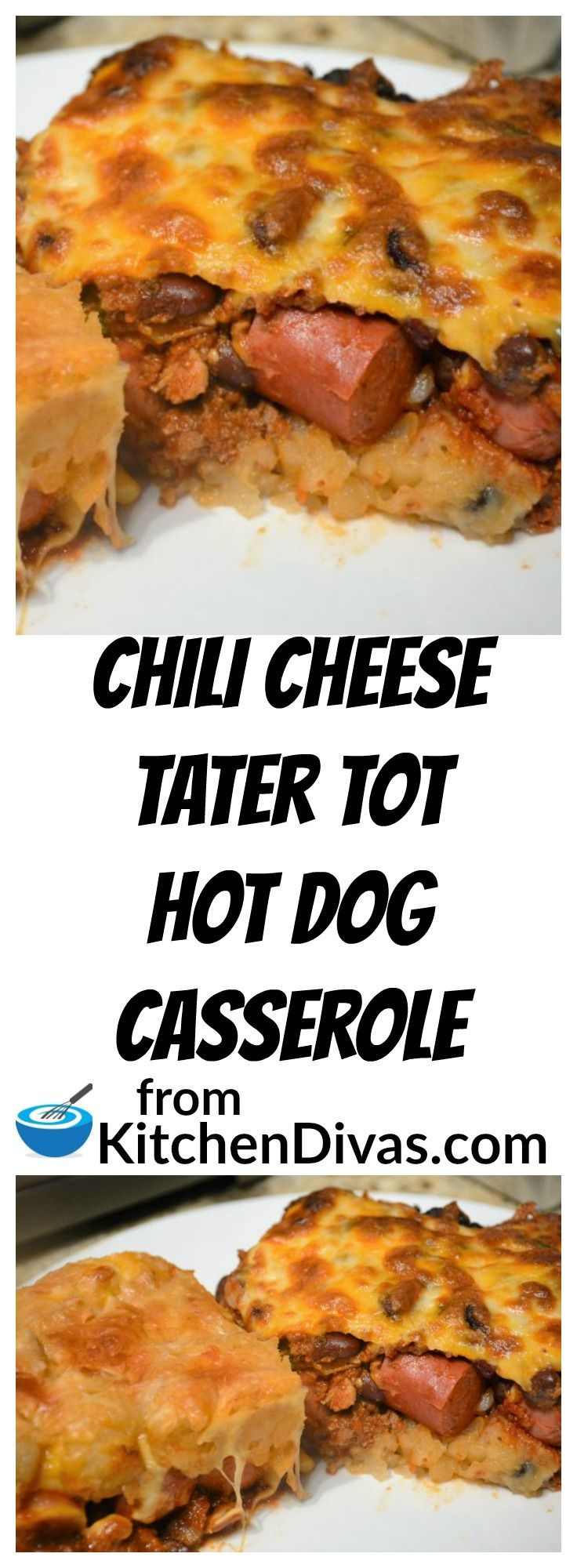 Our recipe for the Ultimate Slow Cooker Chili is perfect for this Chili Cheese Tater Tot Hot Dog Casserole. We could not agree on which way tastes or works better. Ken prefers the tater tots on the bottom and I prefer them on top. We made both for the photo. We both agree though that this simple casserole is totally delicious!