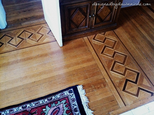 Old parquet border inlay home deco pinterest for Inlaid wood floor designs
