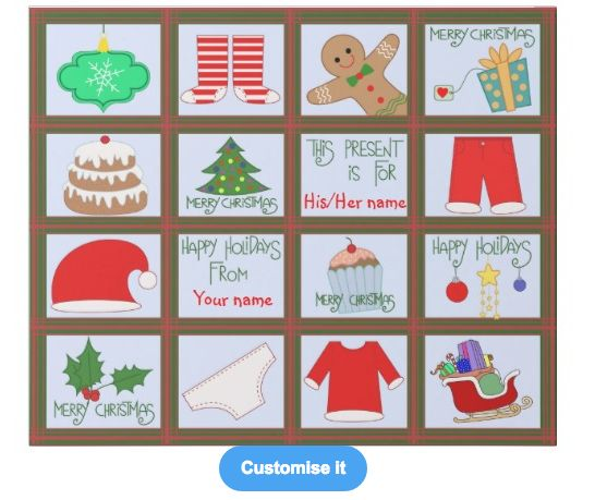 """The christmas grid"" custom christmas wrapping paper template on sale in my zazzle store!! www.zazzle.com/martinaterzi check it out!"
