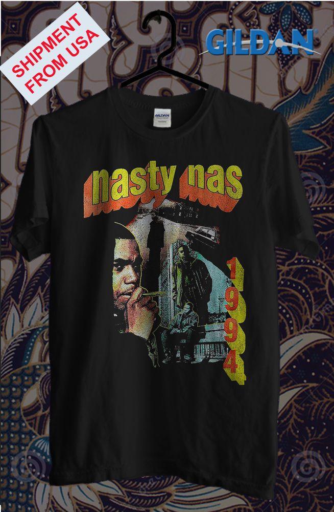 a4fadb83c Nasty Nas Vintage retro hip hop NEW Gildan black T-shirt ALL SIZE #fashion # clothing #shoes #accessories #mensclothing #shirts (ebay link)