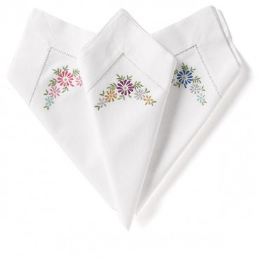 Embroidered Daisy Napkins