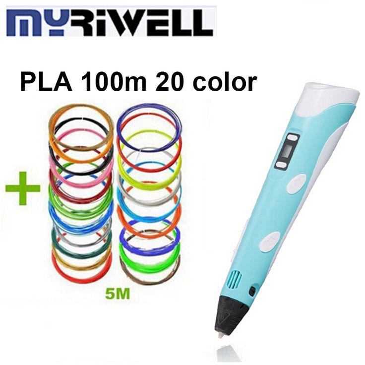 Новый дизайн 3d перо печати 3d ручки арт Myriwell 3D Пера 2-го Поколения Caneta 3D Рисунок с СВЕТОДИОДНЫЙ Экран + 20 Цвет 5 М PLA