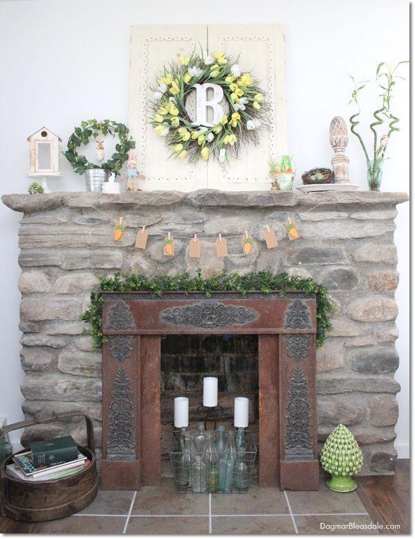 Pastel Easter decor and DIY banner with carrots for our Blue Cottage mantel and living room. Dagmar's Home, DagmarBleasdale.com #Easter #spring #DIY #banner