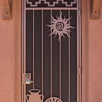 Instead of the screen doors we're used to many Arizona homes have decorative security doors.  I like this one and I think the pets would too.