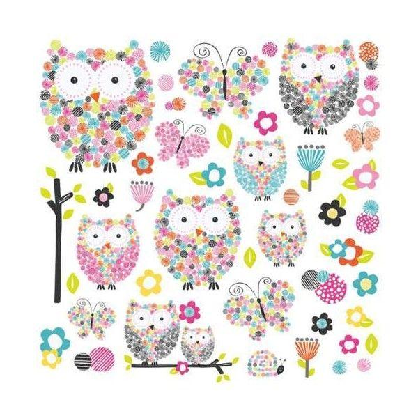 York Wallcoverings RMK2790SCS Prisma Owls& Butterflies