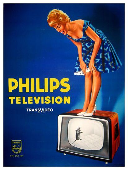 Philips Television, 1960s, Ik houd van de reclame posters stijl uit de jaren 50/60. Het heeft vaak zo'n vrolijke uitstraling. Hier is het leuk om te zien wat voor tv's ze in de jaren 60 aanprezen