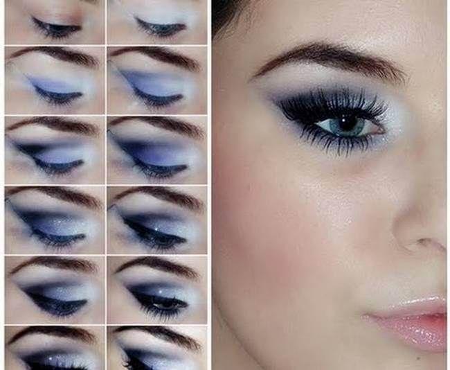 Smoky Eyes Makeup Tutorials- Gray and Blue