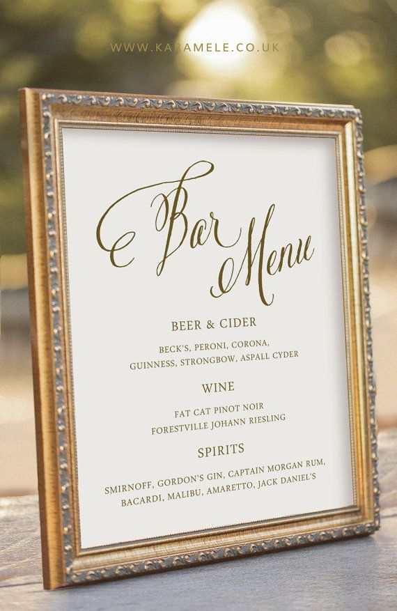 We love customized details for your weddign reception, and a great place to showcase your attention to detail is at the bar. Create a custom drink menu that is specific to you as a couple. See the details here:Custom Printable Bar Menu Wedding Reception Sign by KarameleShop