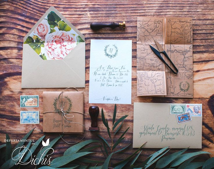Pastel floral wedding invitations with kraft envelope and beautiful details