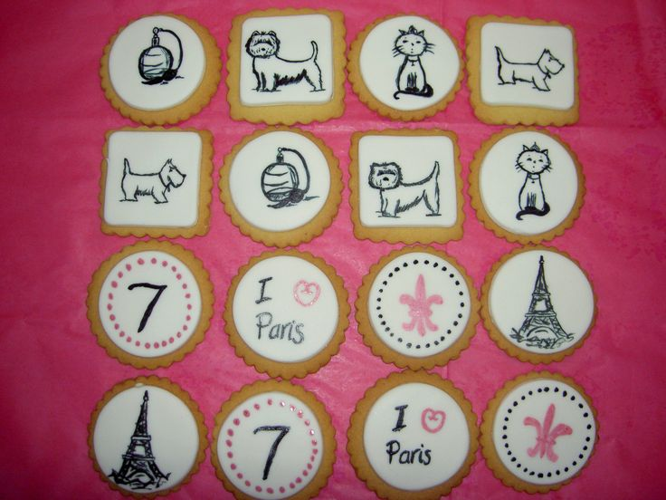 Paris themed hand painted biscuits.