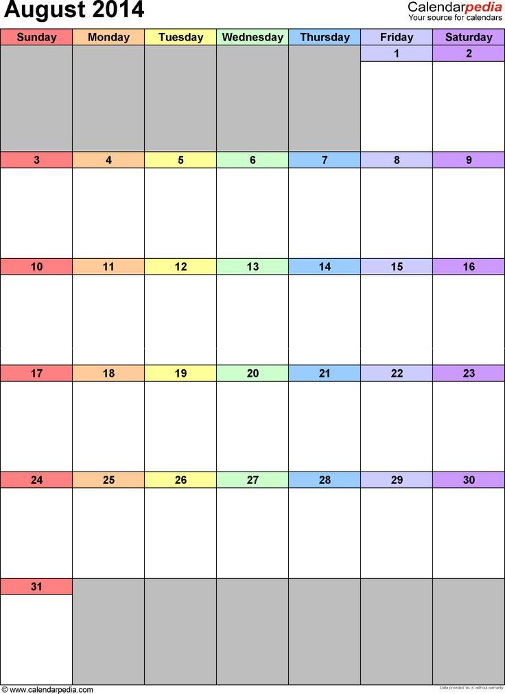 August 2014 Calendar As Printable Word Excel Pdf Templates