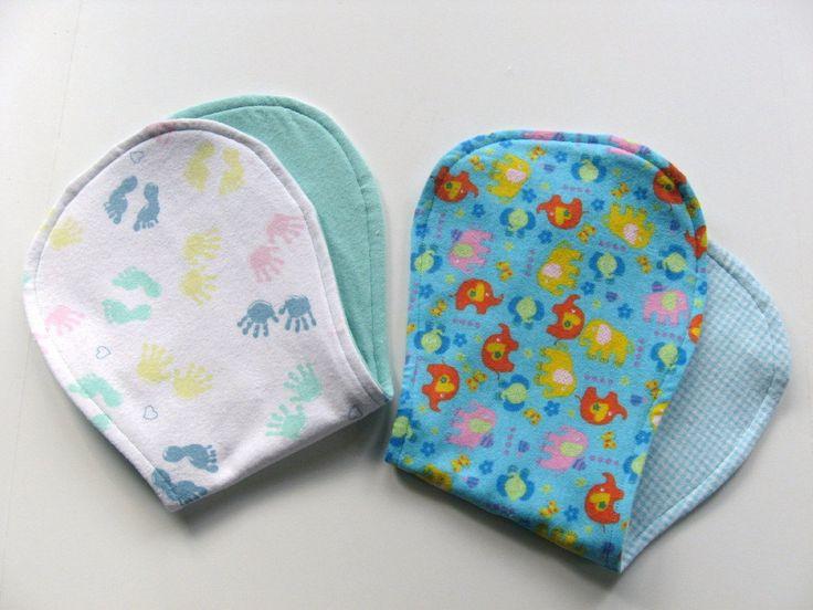 Ready To Ship - Flannel Baby Burp Cloths Set - Hand & Foot Prints Burp Cloth - Elephants Burp Cloth - Gender Neutral Birth Cloths Set by GrandmaLindasHouse on Etsy