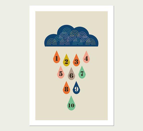 Raindrops Numbers 1 to 10 Modern Kids Wall art, Modern Nursery Decor, Kids Room Art, Playroom Art.