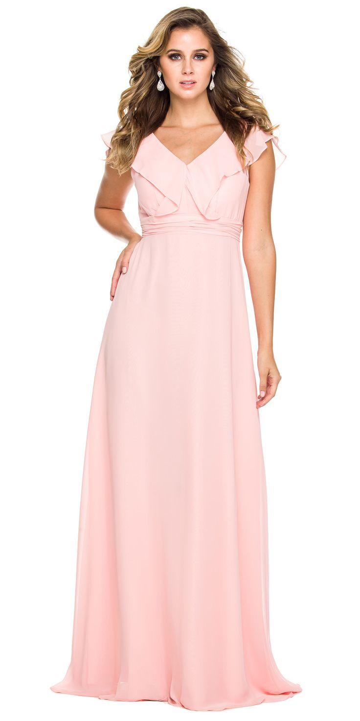 Cap Sleeve Bridesmaid Gown Bashful Pink A Line Chiffon V Neck