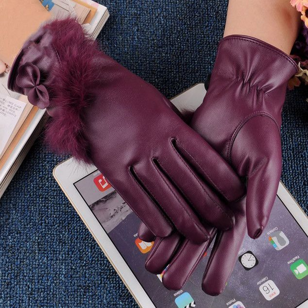 High-grade Leather Glove Touched Screen With Womens Winter Cashmere Fashion Hickened Warm Wrist Windproof Guanti Invernali G046