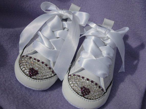 Amethyst HEART Baby Girl Swarovski crystal Converse White Leather Hi-tops by angelareesestudio, $59.95