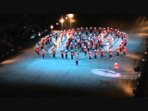 Banda Marcial do Corpo de Fuzileiros Navais na Escócia. Apresentação com...
