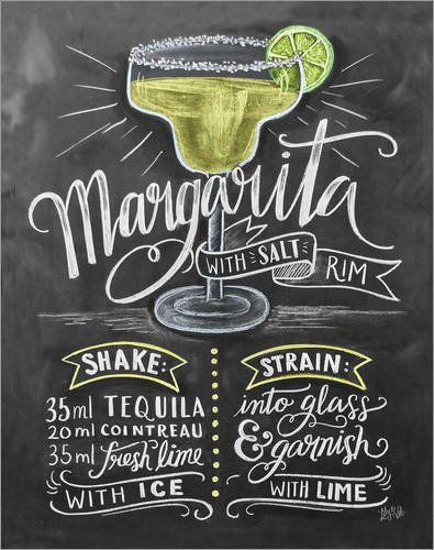 Poster 40 x 50 cm: Margarita Cocktail Recipe by Lily & Val / MGL Licensing - high quality art print, new art poster