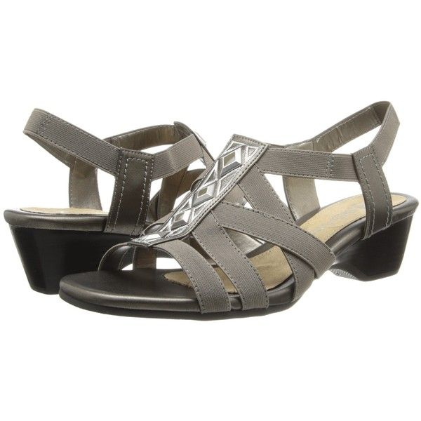Bella-Vita Pacifica (Pewter) Women's 1-2 inch heel Shoes ($40) ❤ liked on Polyvore featuring shoes, sandals, pewter, slingback wedge sandals, elastic-strap sandals, mid-heel sandals, slip on sandals and summer sandals