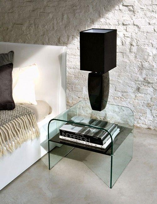 Superior Unico Italia Golden Plus Contemporary Glass Lamp Table